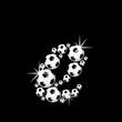 soccer balls letter, 3D alphabet - fussball e