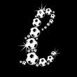 soccer balls letter, 3D alphabet - fussball l