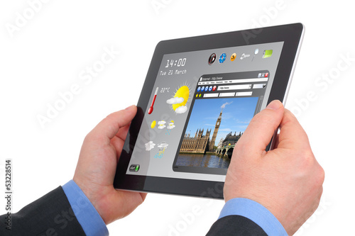 man searching a tourism information on tablet