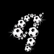 soccer balls letter, 3D alphabet - fussball q