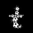 soccer balls letter, 3D alphabet - fussball t