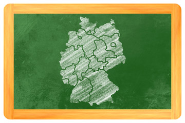 Deutschland mit Bundesländern auf einer Tafel