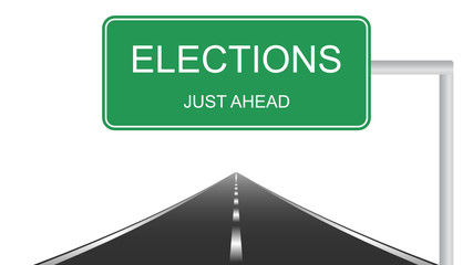 Elections just ahead road sign