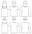 Singlet, T-shirt, Long-sleeved T-shirt and Cap template