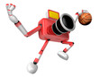 3D Red camera basketball player Vigorously jumping. Create 3D Ca