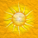 Damage by the sun - vector crumpled background with sun