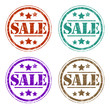 Four coloured sale stamps