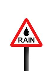 Rain triangle warning sign