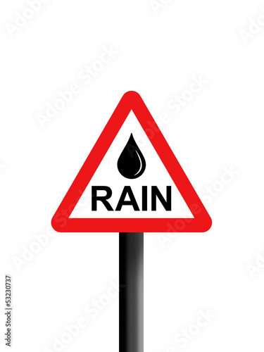 Rain triangle warning sign