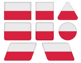 set of buttons with flag of Poland