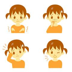 病気の兆候01 悪寒、吐き気、頭痛、咳 女の子