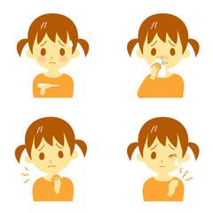 病気の兆候02 発熱、鼻水、喉の痛み、肩こり 女の子