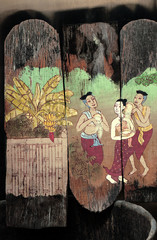 people depicted old wooden board