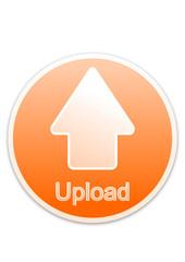Upload button orange circle (vector)