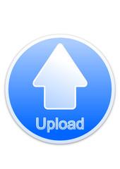 Upload button blue circle (vector)