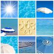 Collage soleil plage piscine
