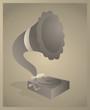 Vector vintage cartoon of a gramophone