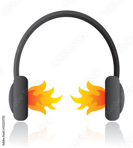 Loud rocking music / Headphones on fire