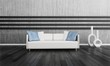 Modern white couch in front of gray wall