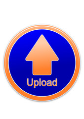 Upload button orange and blue circle (vector)
