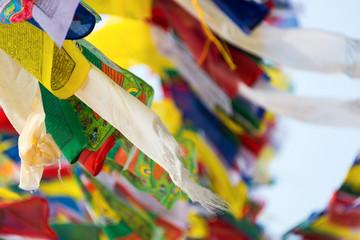 Prayer flags flying in the wind in Kathmandu, Nepal