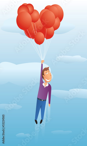 Guy floating with valentine balloons