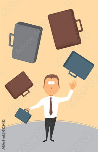 Businessman juggling with briefcases