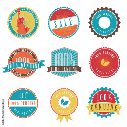 9 Retro Badges and Stickers