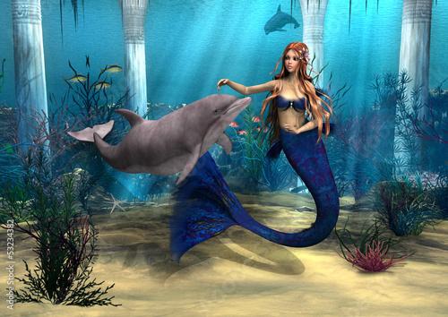 Foto op Plexiglas Draken Mermaid and Dolphin
