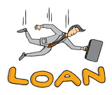 Businessman falling on loan