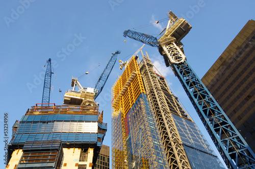 Leinwanddruck Bild New Skyscrapers Under Construction In The City Of London