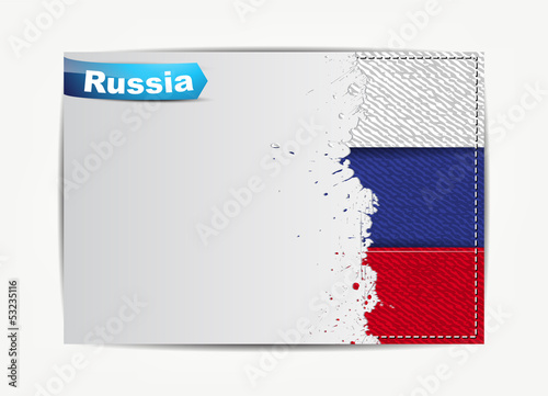 Stitched Russia flag with grunge paper frame for your text.