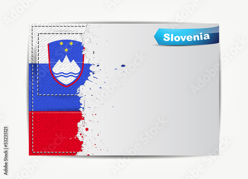 Stitched Slovenia flag with grunge paper frame for your text.