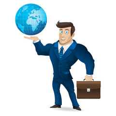 Businessman holding briefcase and globe