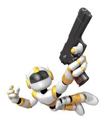 Yellow 3D robot jumping holding an automatic pistol. Create 3D H