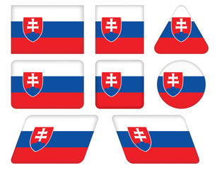 set of buttons with flag of Slovakia