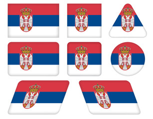 set of buttons with flag of Serbia