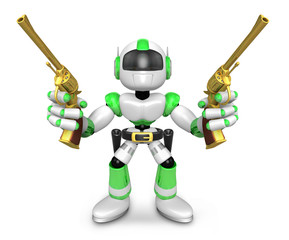 The 3D Green Robot cowboy holding a revolver gun with both hands