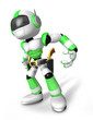3D Green Robot cowboy is taking pose a gunfight. Create 3D Human