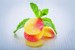 fruit gums and mint leaf