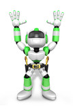 3D Green cowboy robot with both hands in a gesture of surrender.