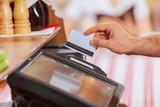 Close-up of cashier hands