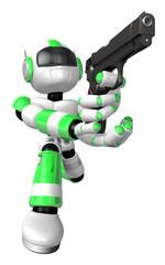 3D Green Robot fire an aimed shot a automatic pistol. Create 3D