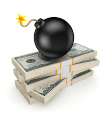 Black bomb on a stack of dollars.
