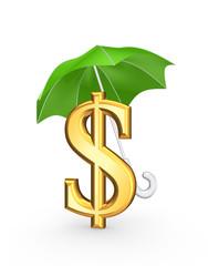 Golden sign of dollar under green umbrella.