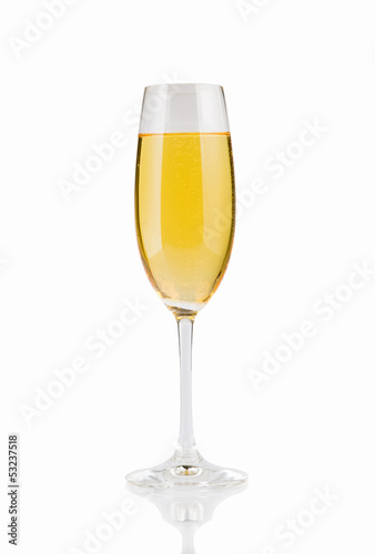 Glass of champagne on a white background