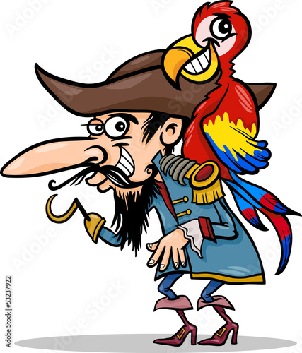 pirate with parrot cartoon illustration