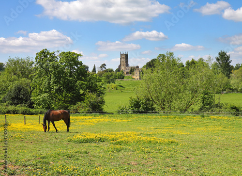 An English Summer Landscape in the Cotswolds with grazing horse