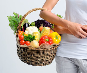Basket full of healthy raw vegetables from the market