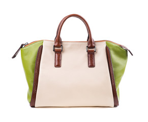 Women's stylish bag on white background